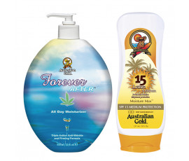 Australian Gold Kit Forever After + SPF15 Lotion Sunscreen + Trilab Pochette Light Blue